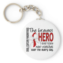 Bravest Hero I Ever Knew Oral Cancer Keychain