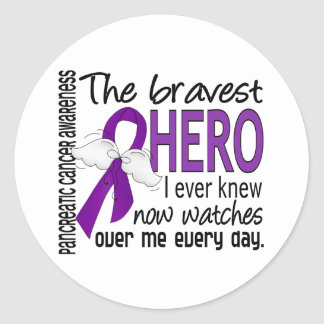 Bravest Hero I Ever Knew Pancreatic Cancer Classic Round Sticker