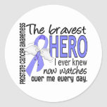 Bravest Hero I Ever Knew Prostate Cancer Round Stickers