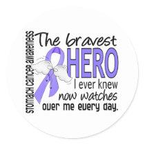 Bravest Hero I Ever Knew Stomach Cancer Classic Round Sticker