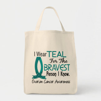 Bravest Person I Know Ovarian Cancer Grocery Tote Bag