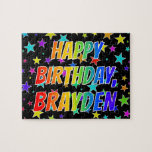"[ Thumbnail: ""Brayden"" First Name, Fun ""Happy Birthday"" Jigsaw Puzzle ]"