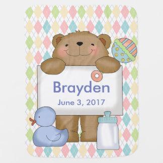 Brayden's Good News Bear Personalized Gifts Stroller Blanket