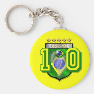 Brazil 10 Brasil number 10 soccer futebol gifts Basic Round Button Keychain