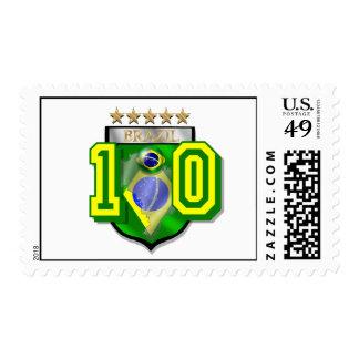 Brazil 10 Brasil number 10 soccer futebol gifts Stamp