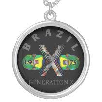 Brazil 1975 Generation X Skateboard Silver Plated Necklace