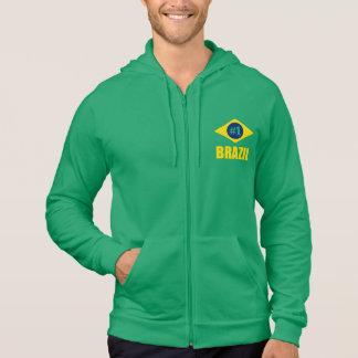 Brazil #1 Flag Yellow Text Hoodies