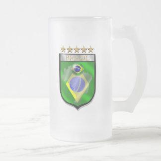 Brazil 5 star badge futebol shield gifts frosted glass beer mug