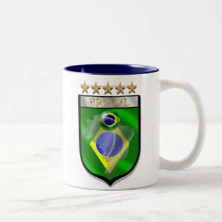 Brazil 5 star badge futebol shield gifts Two-Tone coffee mug
