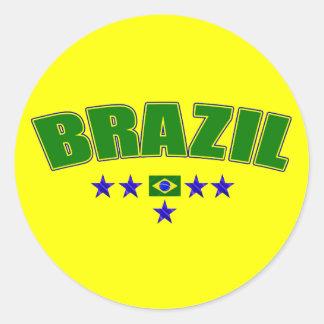Brazil 5 Star Blue Worded logo 5 star futebol gear Classic Round Sticker