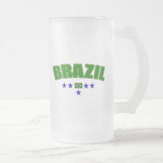 Brazil 5 Star Blue Worded logo 5 star futebol gear Frosted Glass Beer Mug
