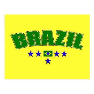 Brazil 5 Star Blue Worded logo 5 star futebol gear Post Card