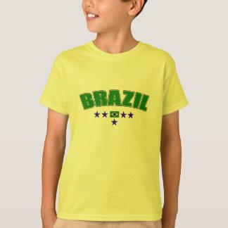 Brazil 5 Star Blue Worded logo 5 star futebol gear T-Shirt