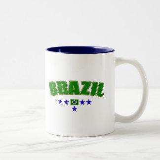 Brazil 5 Star Blue Worded logo 5 star futebol gear Two-Tone Coffee Mug