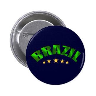 Brazil 5 star World Champions Soccer Gifts Pinback Button