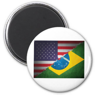 brazil and america 2 inch round magnet