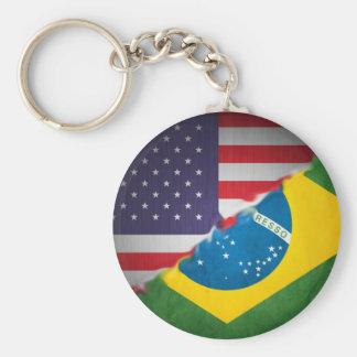 brazil and america basic round button keychain
