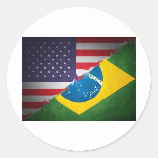 brazil and america classic round sticker
