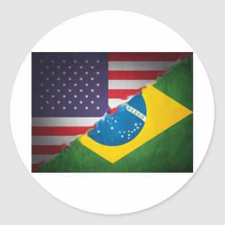brazil and america round stickers
