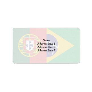 Brazil And Portugal, hybrids Address Label