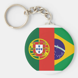 Brazil And Portugal, hybrids Basic Round Button Keychain