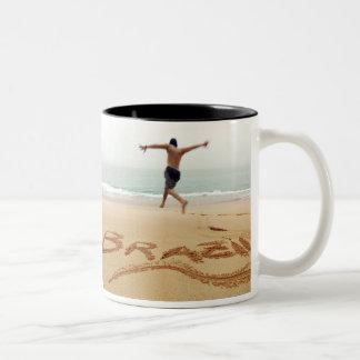 BRAZIL. Barechest man wearing a swimming suit Two-Tone Coffee Mug