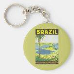 Brazil Basic Round Button Keychain
