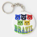 brazil bears basic round button keychain