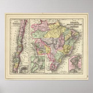 Brazil, Bolivia, Paraguay, Uruguay Poster
