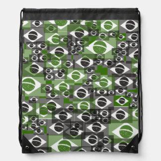 Brazil Brasil flag pattern Drawstring Bag