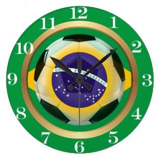 Brazil / Brasil Soccer Ball Large Clock