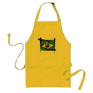 Brazil Brush Flag Adult Apron