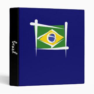 Brazil Brush Flag 3 Ring Binder