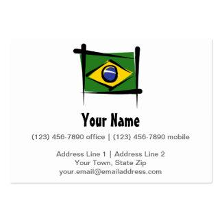 Brazil Brush Flag Large Business Cards (Pack Of 100)