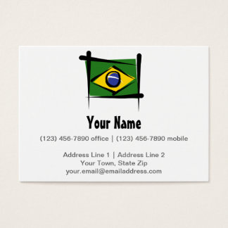 Brazil Brush Flag Business Card