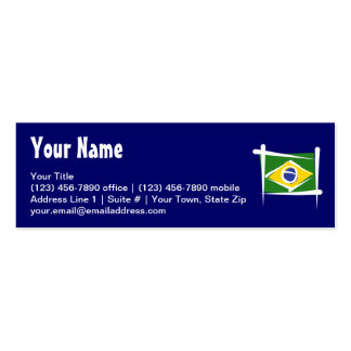 Brazil Brush Flag Double-Sided Mini Business Cards (Pack Of 20)