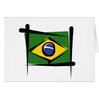 Brazil Brush Flag Card