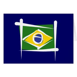 Brazil Brush Flag Greeting Cards