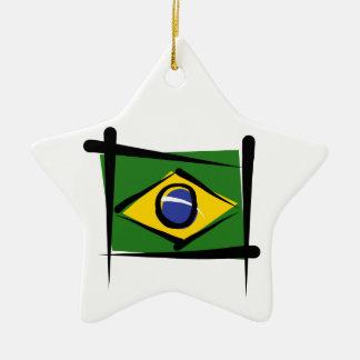 Brazil Brush Flag Ceramic Ornament