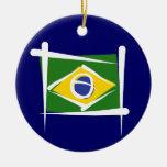 Brazil Brush Flag Christmas Ornaments