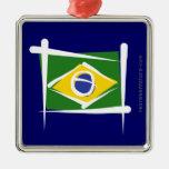 Brazil Brush Flag Christmas Tree Ornament