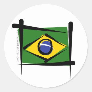 Brazil Brush Flag Classic Round Sticker