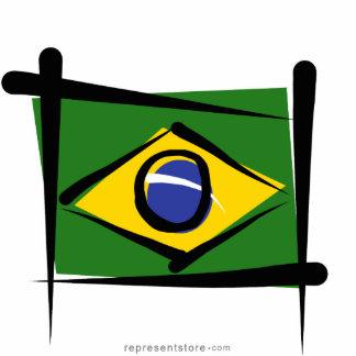 Brazil Brush Flag Cutout