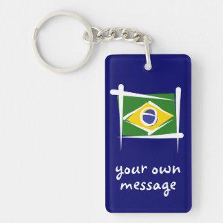 Brazil Brush Flag Double-Sided Rectangular Acrylic Keychain