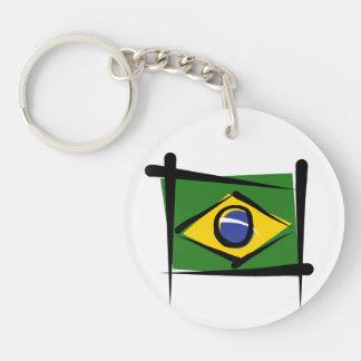 Brazil Brush Flag Double-Sided Round Acrylic Keychain