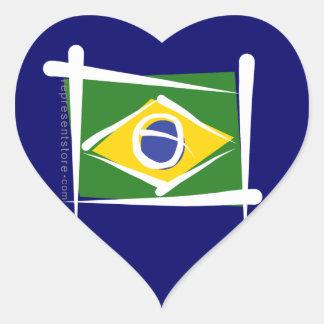 Brazil Brush Flag Heart Sticker
