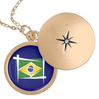 Brazil Brush Flag Locket Necklace