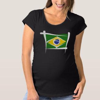 Brazil Brush Flag Maternity T-Shirt