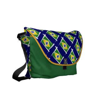 Brazil Brush Flag Messenger Bag