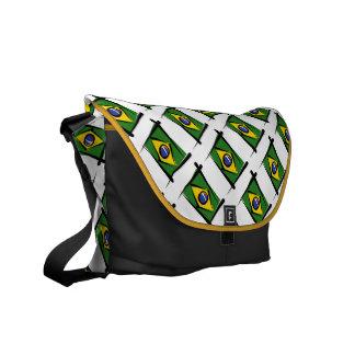 Brazil Brush Flag Messenger Bags